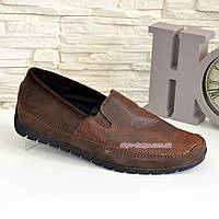 Туфли-мокасины мужские из перфорированной коричневой кожи, фото 1
