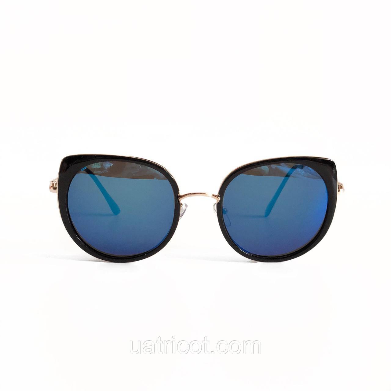 Женские солнцезащитные очки Oversize Cat Eye с синими зеркальными линзами