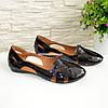 Балетки лаковые женские летние, цвет черный, фото 4