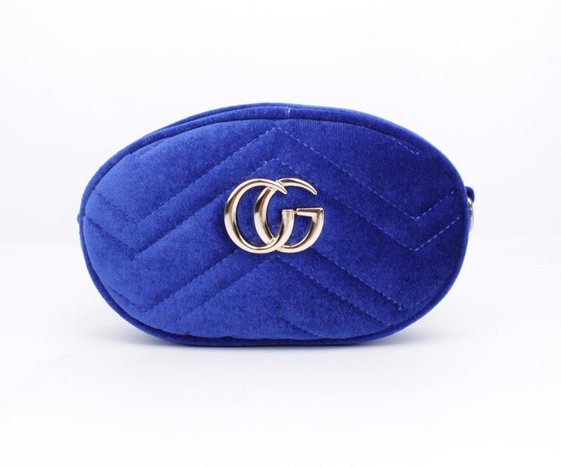 Сумочка-клатч на пояс, через плечо женская велюровая синяя Gucci 2038-2