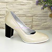 Туфли кожаные женские на устойчивом высоком каблуке, цвет бежевый.
