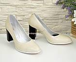 Туфли кожаные женские на устойчивом высоком каблуке, цвет бежевый. , фото 2