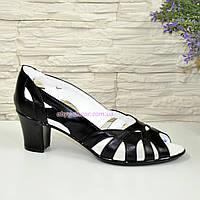 Кожаные черные женские босоножки на невысоком устойчивом каблуке. 38 размер