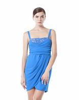 Нарядное платье-бюстье на широких бретелях шифоновое по колено синего цвета,, фото 1