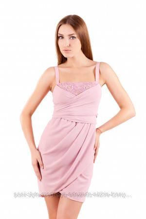 Ошатне плаття-бюстьє на широких бретелях шифонова по коліно рожевого кольору,