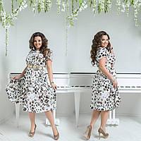 Женское шифоновое платье до колен под пояс с коротким рукавом батальное