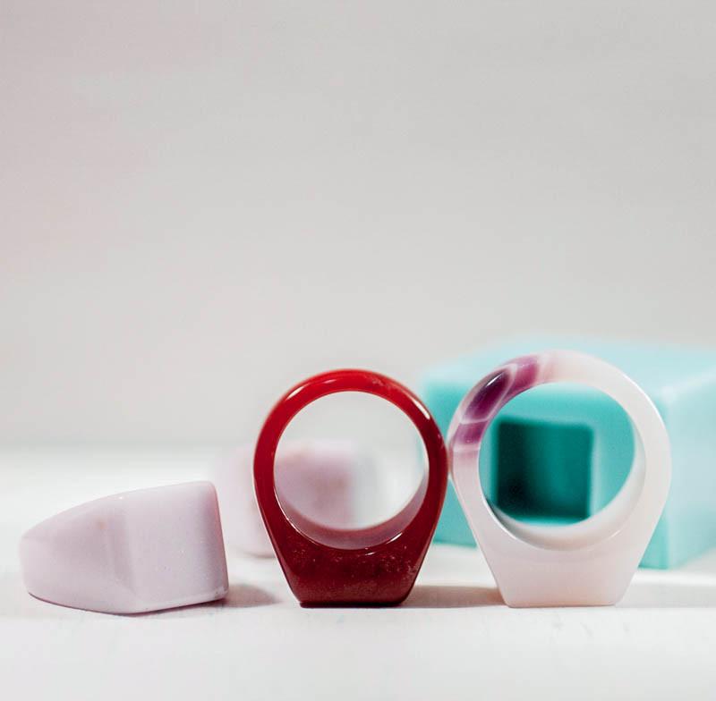 Силиконовый молд для эпоксидной смолы на кольцо, вертикальная заливка (18мм)