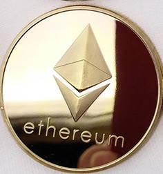 Сувенірна Монета Ethereum золота, фото 2