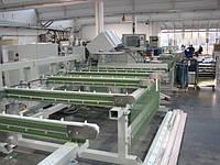 Распиловочный центр Haffner SBA-1 с тремя пильными дисками.