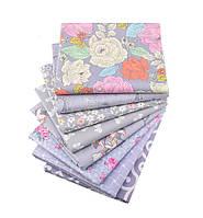 Набор тканей (Ткань) для Пэчворка Серо-сиреневые 40x50 см 8 шт, фото 1