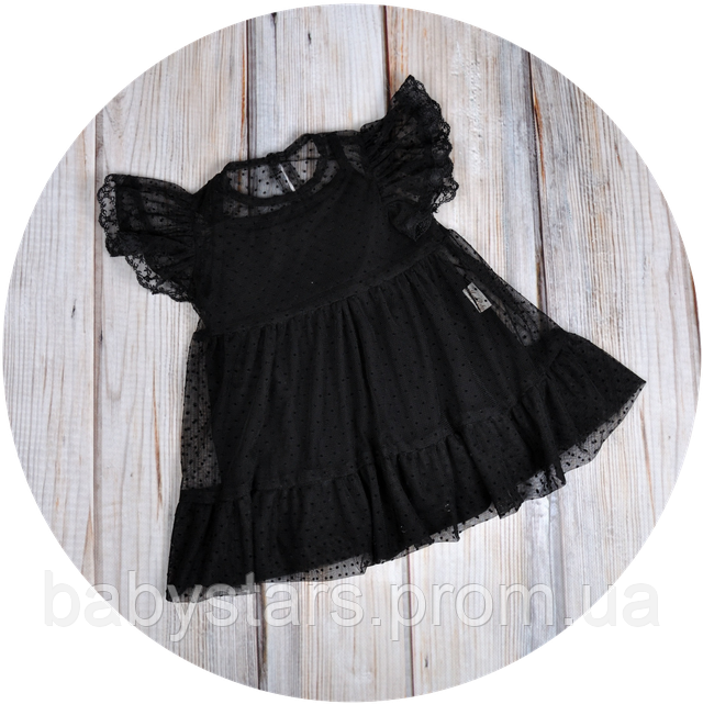 Фатиновое платье-боди, черное