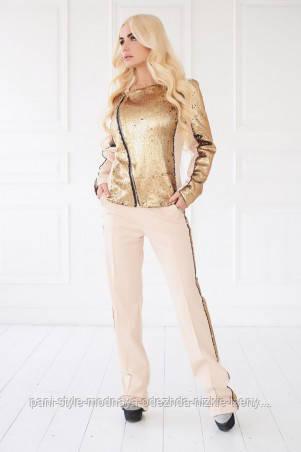 Костюм жіночий брючний бежевого кольору паєтки, костюм ошатний, красивий