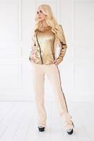 Костюм женский брючный бежевого цвета паетки, костюм нарядный красивый, фото 1