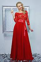Платье молодежное МАРИАННА КРАСНОЕ длинное гипюр+сетка шифон + атлас 44, 46, 48р экокожа ремень