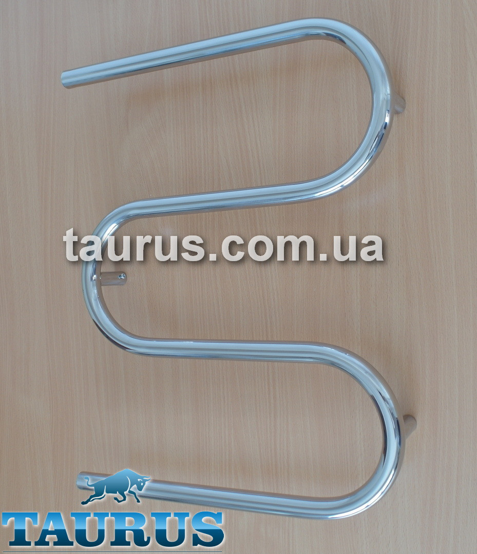 Нержавеющий проточный полотенцесушитель Змейка - 3 колена / Размером: 550 х 600 мм. Труба 25х2мм