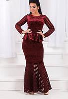 Платье бархатное с сеткой батал  ат1193, фото 1