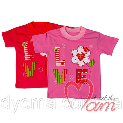 """Детская футболка """"Love"""" для девочек, фото 2"""