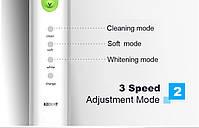 Azdent AZ-1 Pro Sonic White with green Звуковая электрическая зубная щетка, 4 насадки, фото 4