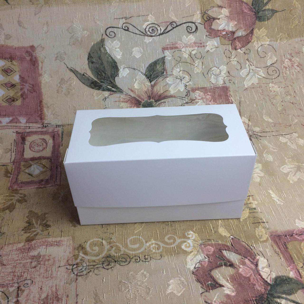 Коробка для 2-ух кексов / 170х85х90 мм / Белая / окно-обычн