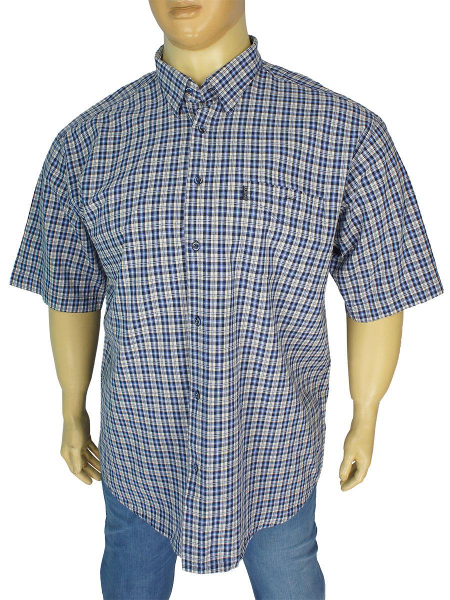 Мужская хлопковая рубашка Razonni 0340 B indigo большого размера