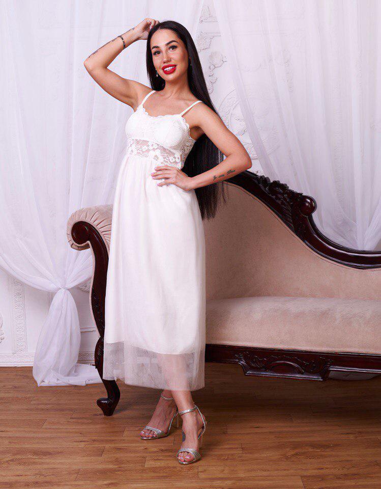 77ecdac32e34146 Очень красивое белое платье на тонких бретелях - Интернет-магазин