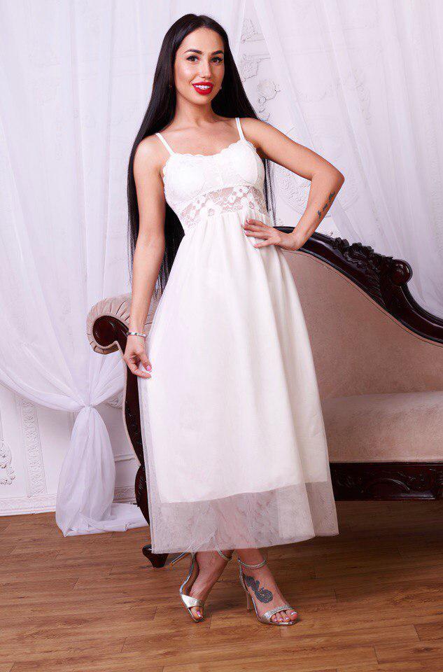 7f0ec7acf765808 Очень красивое белое платье на тонких бретелях, цена 460 грн., купить в  Харькове — Prom.ua (ID#704546112)