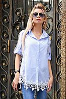 Рубашка туника женская с ажурным кружевом , фото 1