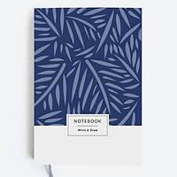 """Стильный блокнот """"Blue Leaves"""" 80 листов."""