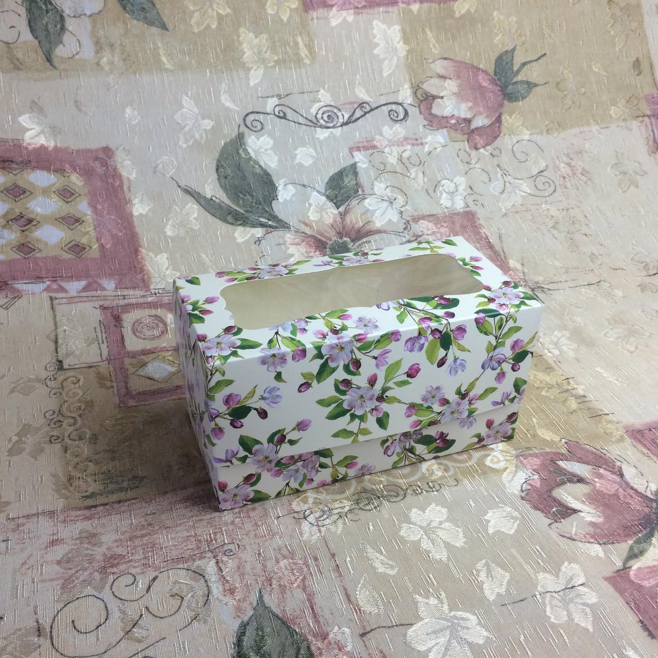 Коробка для 2-ух кексов / 170х85х90 мм / печать-Весна / окно-обычн / лк / цв