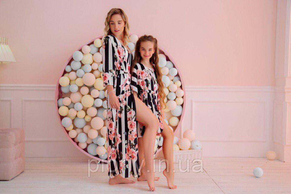 Комплект мама+дочка пляжные туники