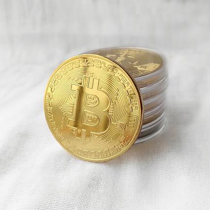 Монета сувенирная Bitcoin позолоченная, фото 2