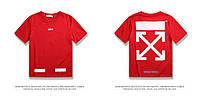 Футболка Off-white красная с логотипом, унисекс - мужская, женская, детская