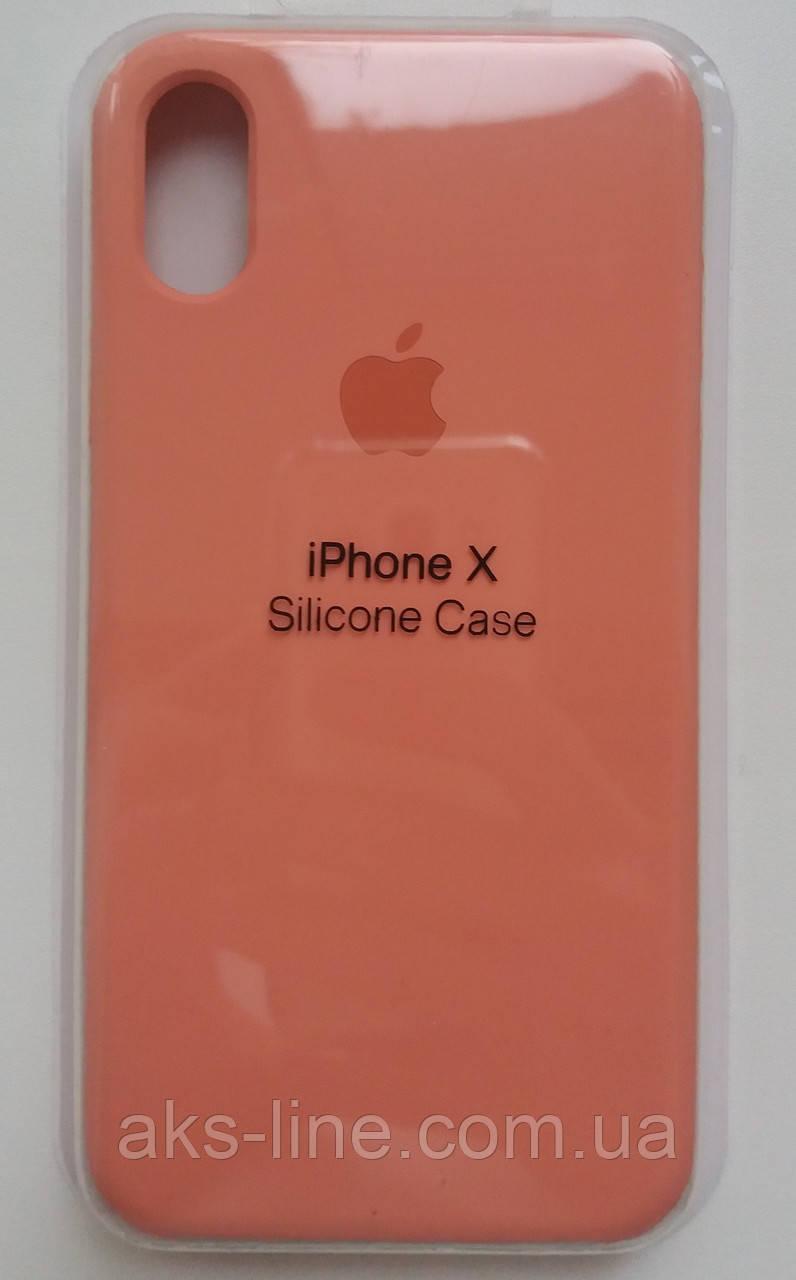 Силиконовый чехол Apple Silicone Case IPHONE Х / XS (Begonia red)