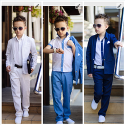 Костюм на выпускной в садик,лен, для мальчика тройка голубой классика пиджак+брюки+рубашка