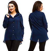 Женская стильная рубашка на пуговицах, удлинённая сзади.. Батал, фото 1