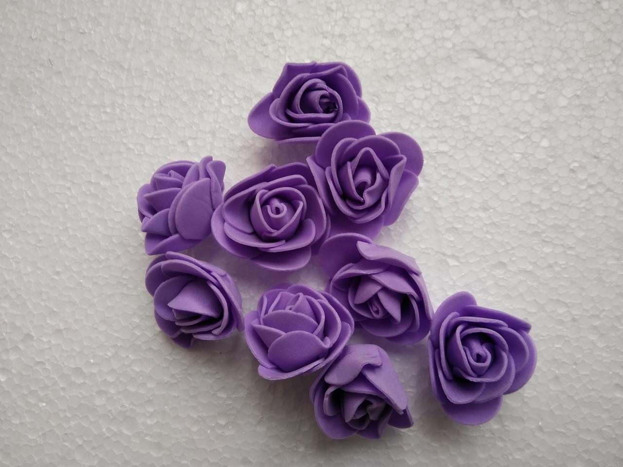Головка розочки из фоамирана 3 см фиолетовая