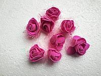 Головка розочки из фоамирана 3 см малиновая с фатином