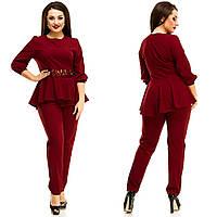 Женский стильный костюм-двойка брюки и кофта с воланом и вставкой из гипюра. Батал, фото 1