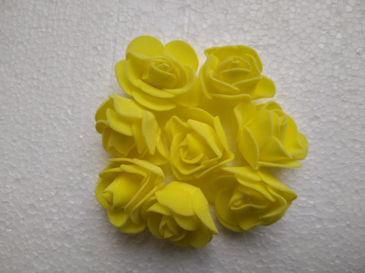 Головка розочки из фоамирана 3,5 см желтая