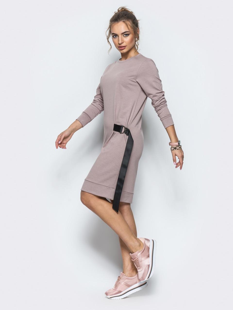c264a56ac92f Спортивное платье-свитшот из двунити с репсовыми лентами пудрового цвета -  Стильная женская одежда оптом