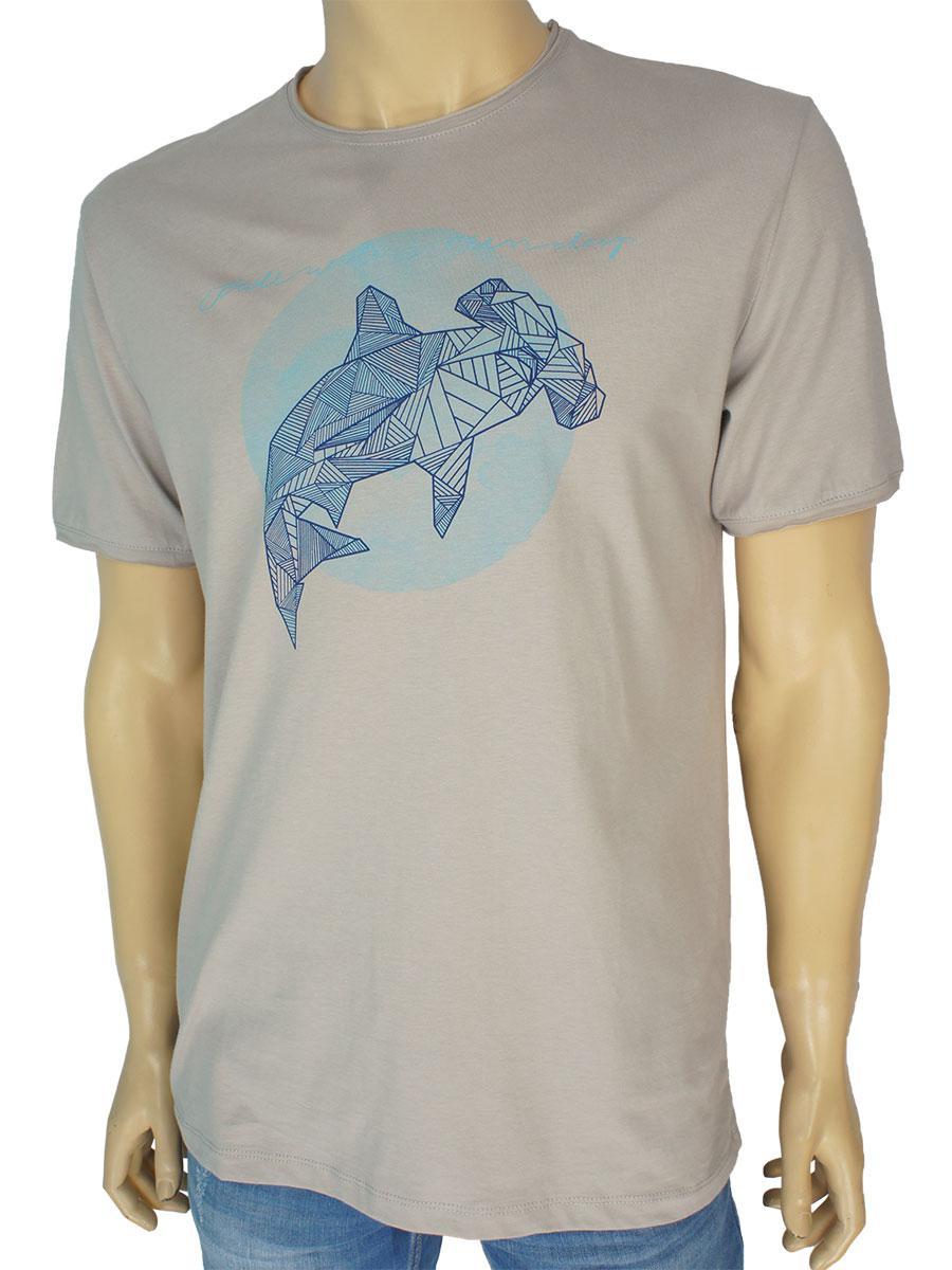 Чоловіча якісна футболка Fabianі 22296 бежевого кольору