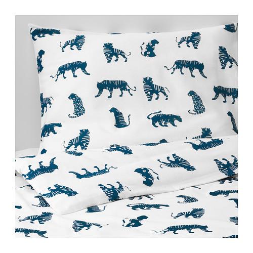 Комплект постельного белья IKEA URSKOG 150x200/50x60 см с рисунком тигра синий белый 003.950.25