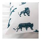 Комплект постельного белья IKEA URSKOG 150x200/50x60 см с рисунком тигра синий белый 003.950.25, фото 3