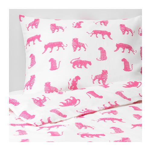 Комплект постельного белья IKEA URSKOG 150x200/50x60 см с рисунком тигра розовый 104.027.56