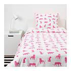Комплект постельного белья IKEA URSKOG 150x200/50x60 см с рисунком тигра розовый 104.027.56, фото 2