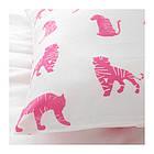 Комплект постельного белья IKEA URSKOG 150x200/50x60 см с рисунком тигра розовый 104.027.56, фото 4