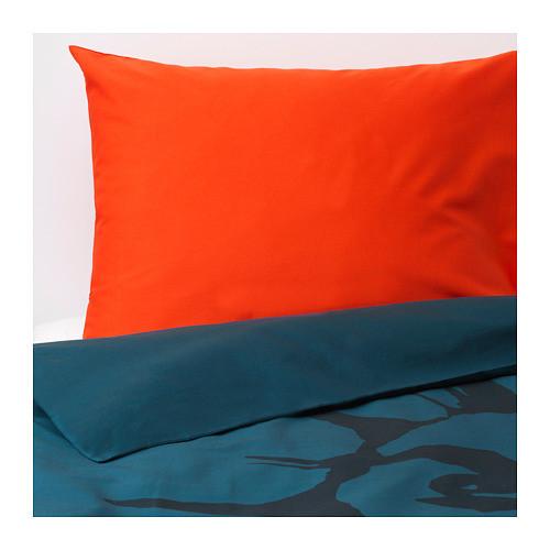 Комплект постельного белья IKEA URSKOG 150x200/50x60 см с рисунком лева темно-синий 903.938.66