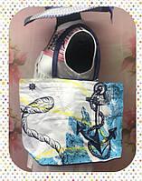 Пляжная женская сумка через плечо с якорями темно-синий
