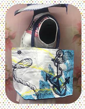 Пляжная женская сумка через плечо с якорями, фото 2