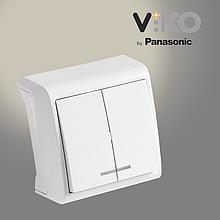 Выключатель двухклавишный с подсветкой VIKO Vera Белый